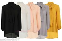 PUSSY BOW  BLOUSE SHIRT TOP   SIZE 8-20  Many Colours