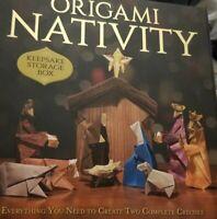 Christmas ORIGAMI NATIVITY Scene w/Keepsake Storage Box