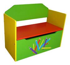 BOYS GIRLS PENCIL CRAYON KIDS CHILDRENS WOODEN TOY BOX BENCH SIT ON STORAGE BOX