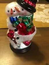 Thomas Pacconi Mercury Glass Snowman Measuring 6 1/2 Inches Tall