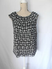 BASQUE CITY, SIZE 14, BLACK/WHITE FLORAL, 100% SILK, TIERED CAREER BLOUSE