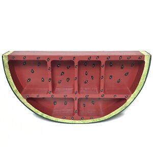 Watermelon Slice Display Shelf Handcrafted Wooden Folk Art Summer Kitchen Decor