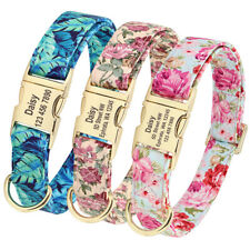 Floral Personalized Dog Collar with Engraved Name Buckle for Small Large Dogs