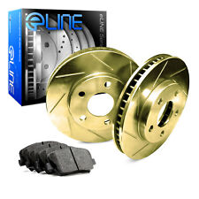 2004-2010 Toyota Sienna Front Gold Slotted Brake Disc Rotors & Ceramic Brake Pad