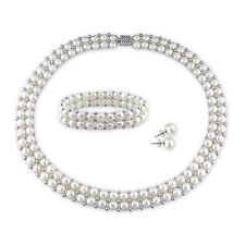Amour Cultured Freshwater Pearl and Silver Bead Jewelry Set (7-8 mm)