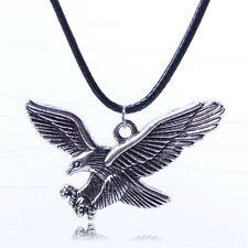 rock punk tibetan silver eagle pendant long chain necklace women men  W1