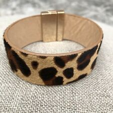 Leopard Cheetah Leather Calf Hair Magnetic Bracelet Cuff Brown Black