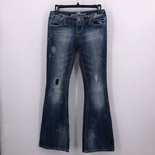 Almost Famous Sz 1 Flare Jeans Paint Splatter Distressed Patches Medium Wash