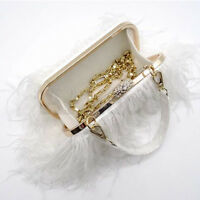 Womens Ostrich Feather Handbag Luxury Evening Clutch Bag Purse Metal Chain Bag