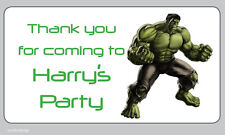 Large The Hulk Marvel Personalised Birthday Thank You Party Address Stickers-N19