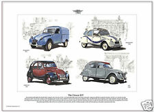 THE CITROEN 2CV - Fine Art Print - Four Classic Models.