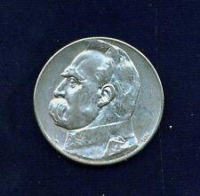 """POLAND REPUBLIC  1934  5 ZLOTE  SILVER COIN, """"JOZEF PILSUDSKI""""    XF/AU, NICE!!"""