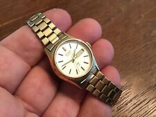 Vtg Lady's Seiko Gold Tone Day Date Watch 2623-0209 New Battery Japan