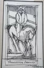 "Original Michael Swearngin Pen & Ink Drawing ""Cowboy Prancer"""