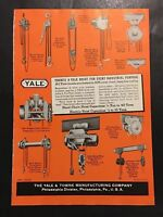 1946 YALE Industrial Hoisting Equipment Chain Gear Vintage Hardware Page Ad