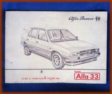ALFA ROMEO 33 1.3 / 1.5 QUADRIFOGLIO - LIBRETTO USO E MANUTENZIONE 1985