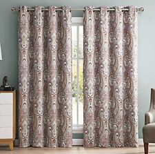 Hlcme Paris Paisley Damask Thermal Blackout Grommet Window Curtain Panels Pair