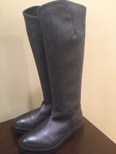 NWOB $2295 Brunello cucinelli Leather Wool Sparkly Monili Knee-high Riding Boots