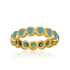 Aqua Chalcedony Gemstone 925 Silver Yellow Gold Plated Engagement Band Ring