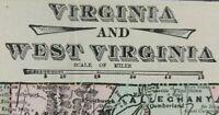 "Vintage 1900 VIRGINIA WEST VIRGINIA Map 22""x14"" ~ Old Antique LEXINGTON ROANOKE"