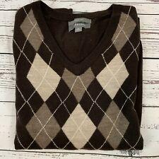 Merona Mens Size L V-Neck Sweater Brown Argyle 100% Merino Wool