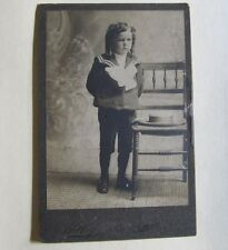 Vintage Cabinet Photograph child chair boater straw hat Hillog Liberty Ny Lqqk!