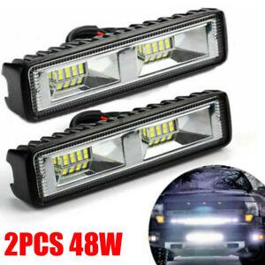2pcs 48W LED Work Light Bar Flood Spot Lights Driving Lamp Offroad Car SUV 12V
