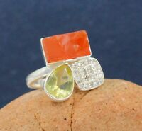 925 Sterling Silver Jewelry Rough Carnelian CZ Gemstone Gift Ring Size 7.75 US