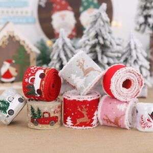 Happy Merry Christmas Ribbons Snowflakes Ribbon Xmas Gift Red Green Wrapping