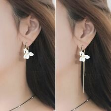 White Flower Asymmetric Earrings Gold Color Earrings Long Chain Earrings