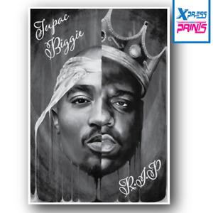 2 Pac Tupac Biggie Smalls R.I.P Rap Poster Art Print LARGE A4 A3 SIZE LAMINATED