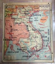 INDOCHINE FRENCH COLONIES WALL MAP VIDAL-LABLACHE 1930 XXe CENTURY