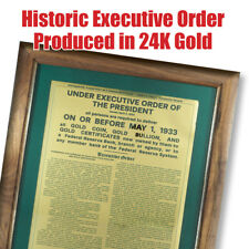 Historic 1933 Executive Gold Recall Order - Produced in 24K Gold.