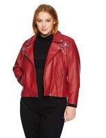 Yoki Woman's Red Faux Leather Floral Moto Jacket Size S M L XL 1X 2X 3X $99