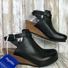 Birkenstock Clog Sandal Womens 7N Esra Cork Wedge Black Leather Sling Back