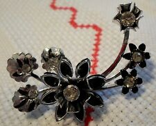 Silvery And Black Enamel Floral Pin/Brooch