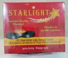 100 Pcs 33mm STARLIGHT Hookah Charcoal Quick Lite Shisha coal Incense 10 Rolls