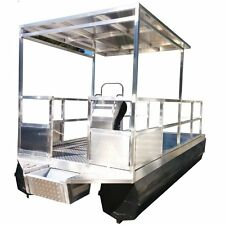 5.7m x 2.5m BOAT BBQ PONTOON WORK PLATFORM BARGE POLY FLOAT HULL ALUMINIUM