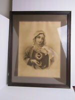 Vintage Mary of the Sacred Heart Framed Sepia Print -  Beautiful Rendition