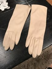 Women's vintage Beige Nylon Winter gloves, Driving Casual Gloves Small 7.5-8.5