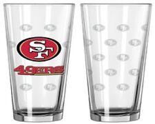 San Francisco 49ers Satin Etch Pint Glass Set of 2 [NEW] NFL Drink Bar Cup Mug