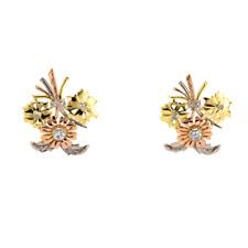 Vintage Floral 18K 3 Tone Color Gold Stud Earrings 0.35 CTW Round Diamonds