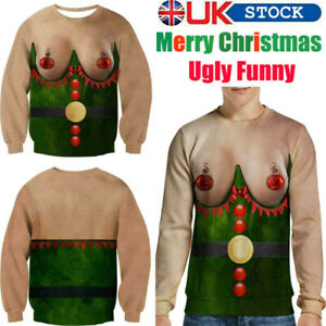 UK 3D Print Unisex Ugly Christmas Jumper Sweater Funny Sweatshirt Gifts Pullover