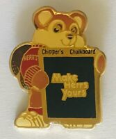 Make Herr's Yours Chippers Chalkboard Advertising Pin Badge Rare Vintage (C10)