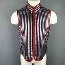 ETRO Size M Blue & Burgundy Striped High Collar Zip Vest