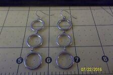 Sterling Silver Circle Triple  Earrings loop hook a122