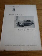 Rolls Royce Silver Cloud Essai Routier brochure-autocar
