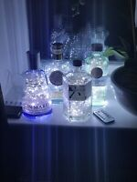Upcycled Gin bottle lamp with Plug in USB 200 Cool White LED lights and remote