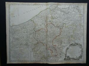 1752 Vaugondy Atlas Universel map  FLANDERS - BELGIUM - Comte de Flandre