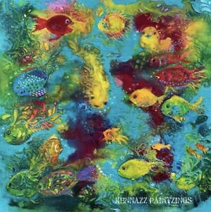 Original Painting Whimsical Fish Canvas Panel Unframed By Kenna 30cm X 30cm